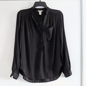 H&M v-neck blouse black / gray dots